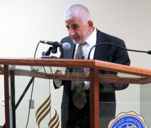 "Dr. Mahmoud Ayoub, professor of Islamic Studies and Christian-Muslim Relations at Hartford Seminary, lectures on ""Islamic Visions of Peace"" for the 'Ahl al-Kitab Lectureship of the Center for Adventist-Muslim Relations at Oakwood University. (Credit: Kay Campbell, AL.com)"